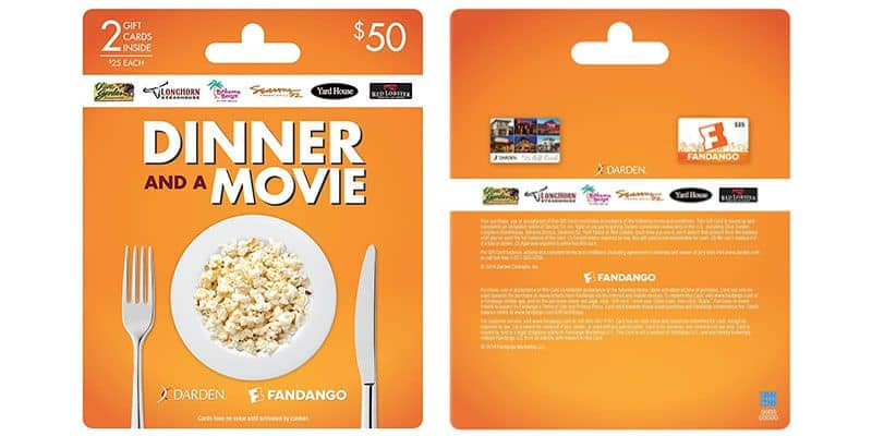 GET $50 for $40! Darden-Fandango Gift Card Combo | Movie Deal ...