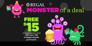 Get a $50 Regal Gift Card – Get a BONUS $15 Concession Gift Card | Movie Deal [expired]